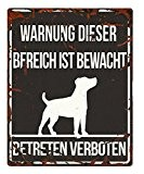 D&D 695-432808 Homecollection Warning Sign Quadratisch Jack Russel, schwarz