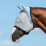 Horseware Amigo Fine Mesh Fly Mask with ears - Silver/Navy, Groesse:Warmblut (L)