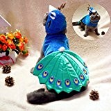 Kailian ® Pet Puppry Hund Katze Cosplay Peacock Costume Einstellbare Hat & Cape
