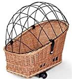 Tigana - Hundefahrradkorb für Gepäckträger aus Weide Natur 56 x 36 cm mit Metallgitter Tierkorb Hinterradkorb Hundekorb für Fahrrad + ...